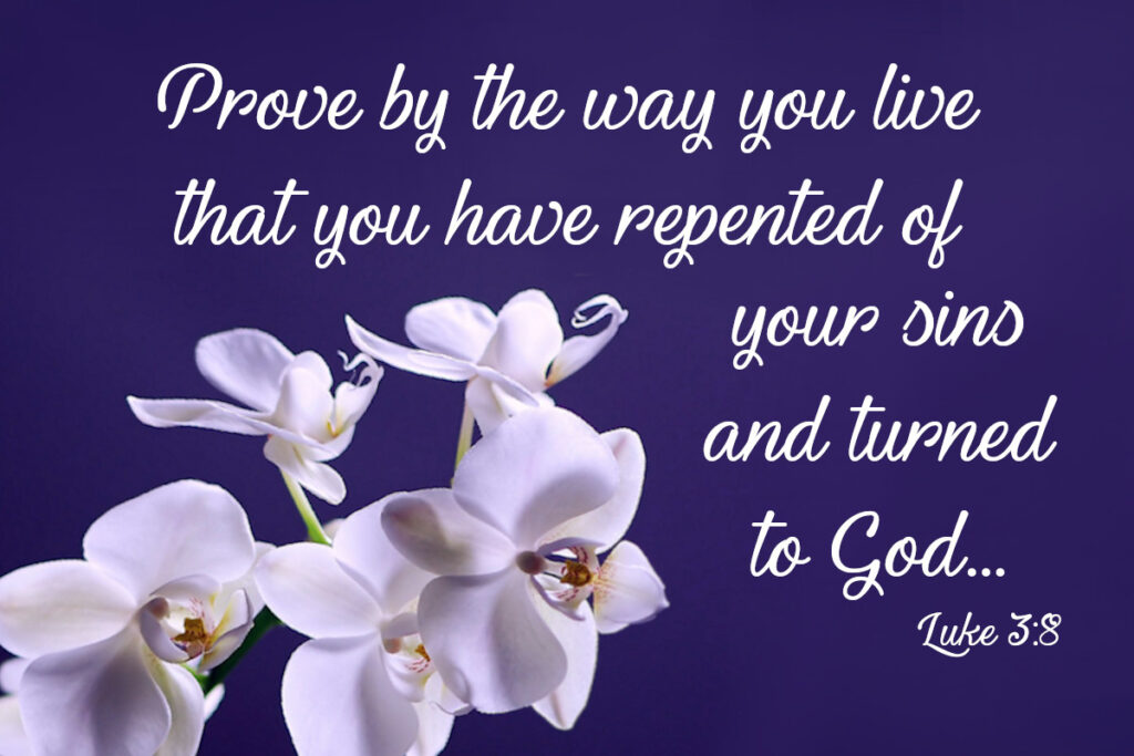 Prove by the way you live that you have repented of your sins and turned to God. Luke 3:8
