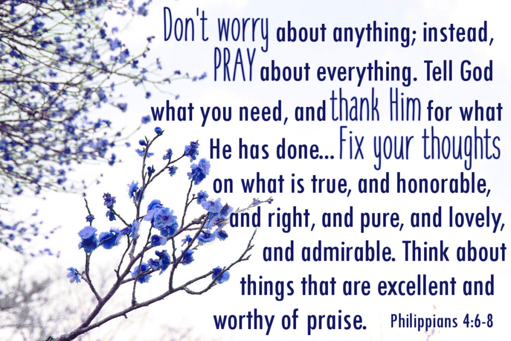 Philippians 4:6-8 - Don't worry about anything; instead, pray about everything. Tell God what you need, and thank Him for what He has done... Fix your thoughts on what is true, and honorable, and right, and pure, and lovely, and admirable. Think about things that are excellent and worthy of praise.