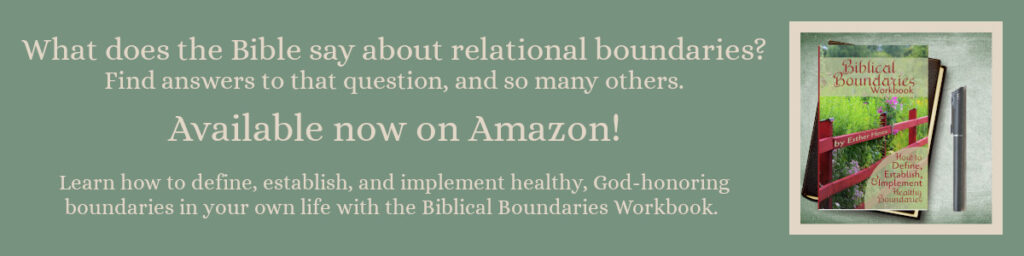 Link to the Biblical Boundaries Workbook (help for those looking to implement healthy, God honoring boundaries while recovering from betrayal trauma) on Amazon.