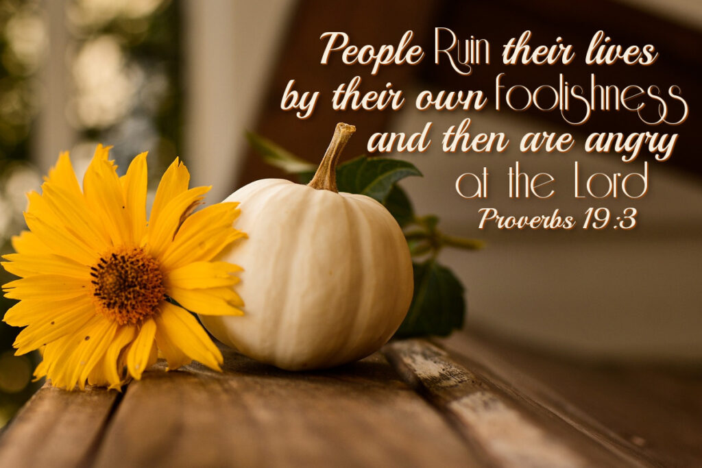 People ruin their lives by their own foolishness and then are angry at the Lord. Proverbs 19:3 do you want to get well?