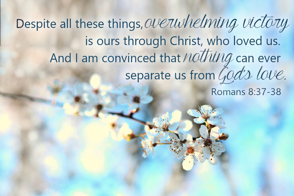 Romans 8:37-38 - Despite all these things, overwhelming victory is ours through Christ, who loved us. And I am convinced that nothing can ever separate us from God's love.